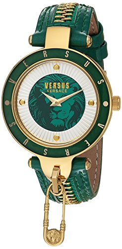 Versus by Versace Women's 'KEY BISCAYNE II' Quartz Stainless Steel and Leather Casual Watch, Color:Green (Model: - Versace Green