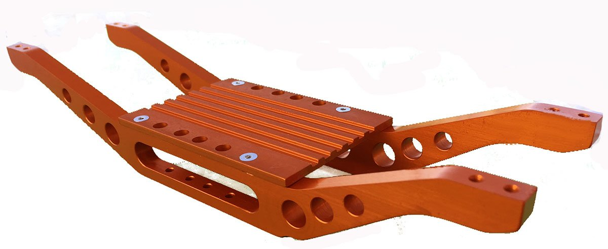 RC Raven T-Maxx 4907 or 4908 Orange Anodized Aluminum bottom braces with free trans cover