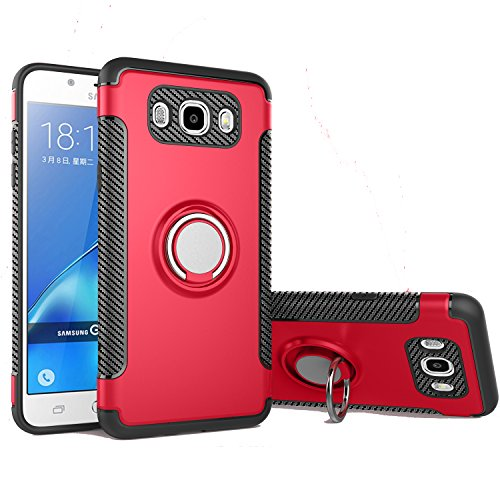 - Galaxy J3 Case, Galaxy J3 V Case, Express Prime Case, Amp Prime Case, Ranyi [Ring Stand Armor] [Adsorbed iron Plate] [360 Rotating Metal Ring] Hybrid Dual Layer Rugged Protective Case (red)