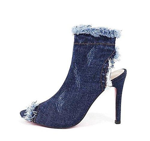 de Cowboy Zapatos de Cabeza Alto Blue Sandalias Dark QXH Tacón Mujer Redonda de Cremallera 0gPqHqW