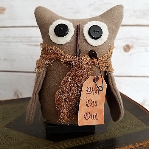 Primitive Folk Art Tiny Wise Old Owl Rustic Farmhouse Cottage Chic Woodland Shelf Sitter Art Doll (Folk Primitive Art Country)