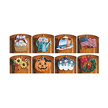 10 Piece Set Multi Holiday Interchangeable Seasonal Welcome Sign Decoration Wall Hanging Door Festive Plaque Whimsical Decor Spring Christmas St Patrick's Day Easter 4th of July Summer Halloween