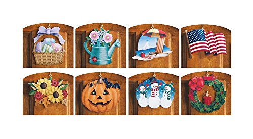 10 Piece Set Multi Holiday Interchangeable Seasonal Welcome Sign Decoration Wall Hanging Door Festive Plaque Whimsical Decor Spring Christmas St Patrick's Day Easter 4th of July Summer (Seasonal Door)