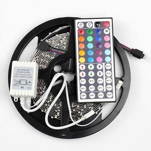 Strip Light,soled 16.4Ft Flexible RGB LED Strip Light Kit, Adhesive 3528 Light Strips,Multi-colored, 300 LEDs, LED Strip Kit & MINI 44-key IR Controller 12V 5A Power Supply, IP65 Waterproof