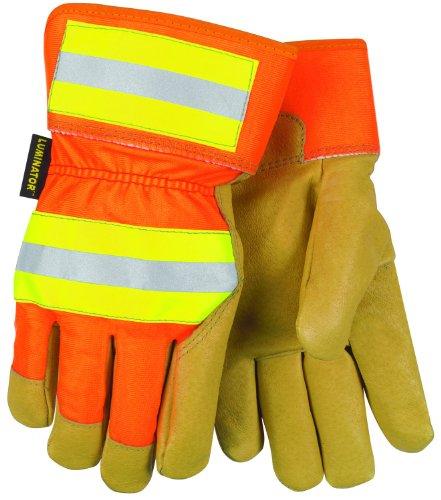 (MCR Safety 19261M Luminator Grain Pigskin Leather Thermosock Lined Gloves with 2-1/2-Inch safety Cuff, Gold/Orange, Medium, 1-Pair)