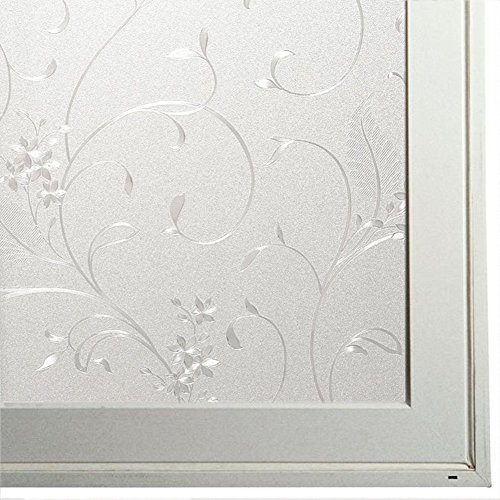 Bloss Iron Flower Etched Glass Static Window Clings Privacy Decorative Window Film, 17.7 Inches By 78.7 Inches