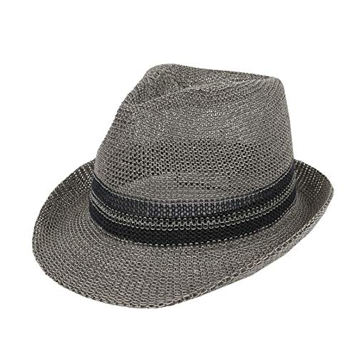 WITHMOONS Straw Fedora Hat Summer Trilby Banded for Men Women CR61184 (Grey) ()