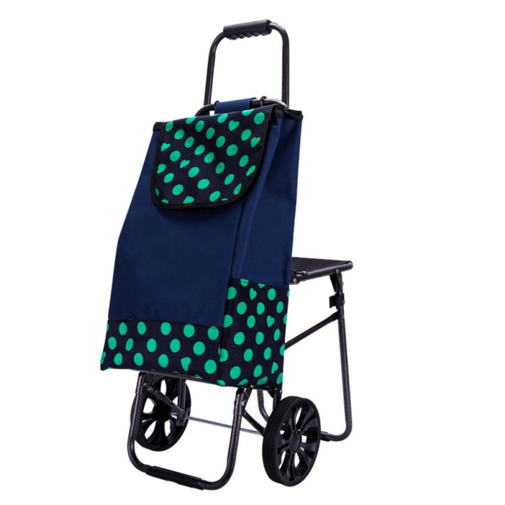 Trolley Foldable Portable Shopping with Chair Shopping Cart,A by Trolley