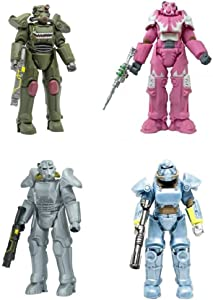 Fallout Mega Merge Series ( 4 Pack ) X-01 Hot Rod Hot Pink Power Armor, T-45 Hot Rod Shark Power Armor, T-51 Vault Tec Power Amor, and T-45 Armor