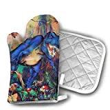 T Rex Dinosaur Triceratops Kids Room Animal Oven Mitts and Pot Holders Set with Polyester Cotton Non-Slip Grip, Heat Resistant, Oven Gloves for BBQ Cooking Baking, Grilling