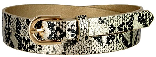 Women's Skinny Snakeskin Embossed Leather Casual Dress Belt with Buckle (Gold, Medium) (Embossed Snakeskin Leather)