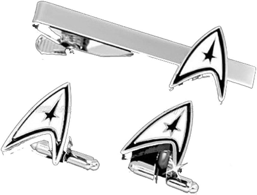 Fashion Jewelry ~ Silvertone Star Trek Tie Clips & Cufflinks Set (S Wyf Star Trek A)