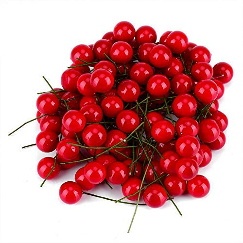 Hankyky DIY Fruit Artificial Holly Cherry Picks Decorations for Christmas Home Decor, Crafting, Party Ornaments, Pack of 144 Pcs -