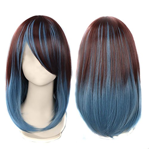 Glow Castle 15inch/40cm Long Wig Two Tone Gradually Varied One Piece Straight Hair Replacement Brown Dark Blue by Glow Castle