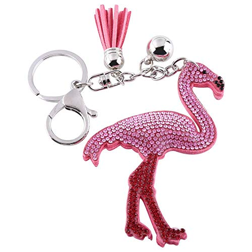 Keychain, Elegant Pink Crystal Flamingo Bag Charm Pendant Gift Key Chain Ring withTassel ()