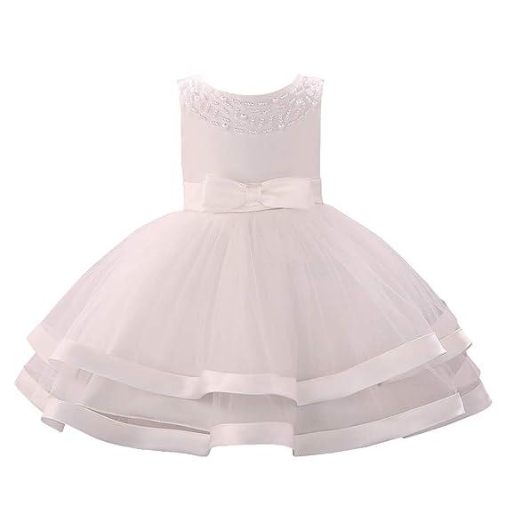 YFCH Abito Bambina Principessa Vestito da Cerimonia per Damigella con  Bowknot Floreale Abiti per Matrimonio Carnevale Compleanno Regalo 0-24  Mesi  ... beffb3d0bc9