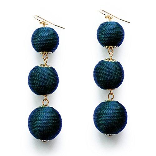 l Earrings Thread Wrapped Handmade Sapphire Ball Drop Tassel Earrings for Women ()