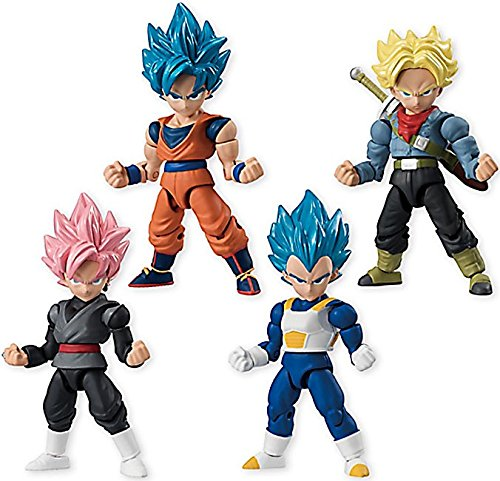 "Dragon Ball Super 66 Action Dash Super Saiyan Character Mini Action Toy Figure Statue Set of 4 approx. 66mm / 2.6""in"
