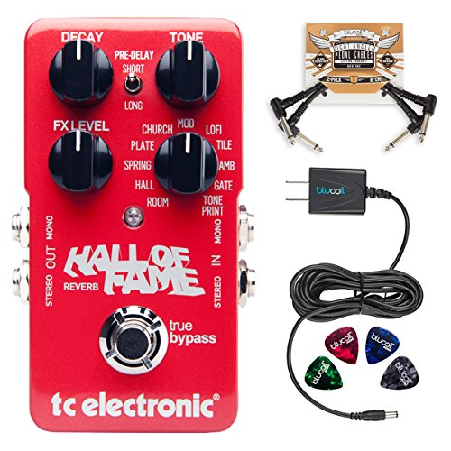 TC Electronic Hall of Fame 2 Reverb Pedal with TonePrint BUNDLED WITH Blucoil Power Supply Slim AC/DC Adapter for 9 Volt DC 670mA, 2-Pack of Pedal Patch Cables AND 4-Pack of Celluloid Guitar Picks