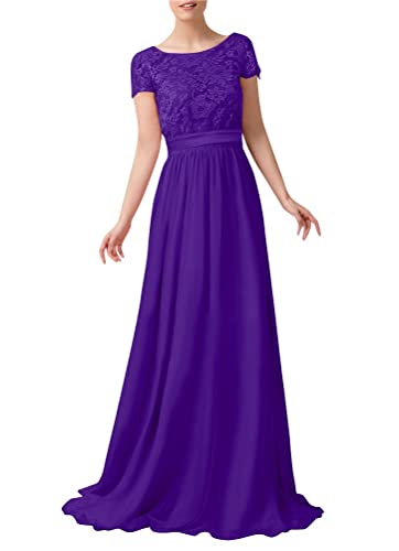 WeiYin Women's Short Sleeve Lace Empire Line Formal Evening Dresses
