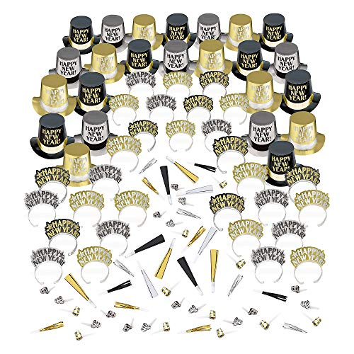 Amscan Opulent Affair New Year's Party Kit for 100, Includes Top Hats and Tiaras -