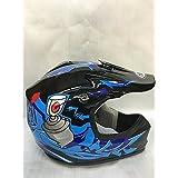 SmartDealsNow DOT Youth & Kids Helmet for Dirtbike ATV Motocross MX Offroad Motorcyle Street bike Flat Matte Black Helmet (Small, Black & Blue)