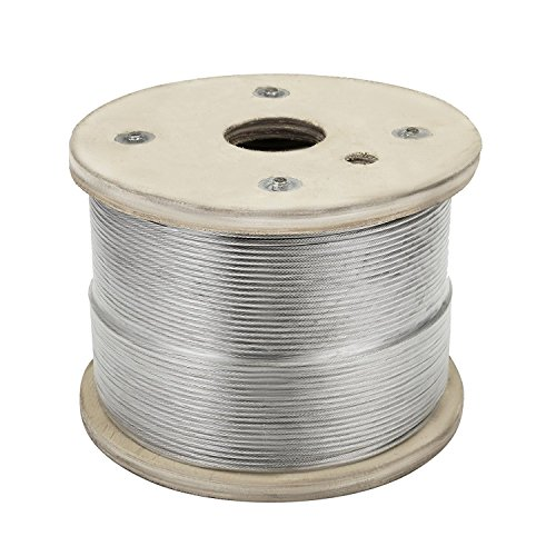 OrangeA Stainless Steel Cable 3/16″ 7 x 19 Winch Rope Aircraft Steel Cable Wire Reel 500FT Winch Cable T304 Wire Rope Winch Cable Replacement (500FT)