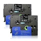 Unismar 2 Pack Compatible TZe-345 TZe345 TZ-345 TZ345 Laminated Tape White on Black 18mm (3/4'') Width 8m (26.2ft) Length for Brother P-Touch Label Makers & Printers (US-TZe345 2PK)