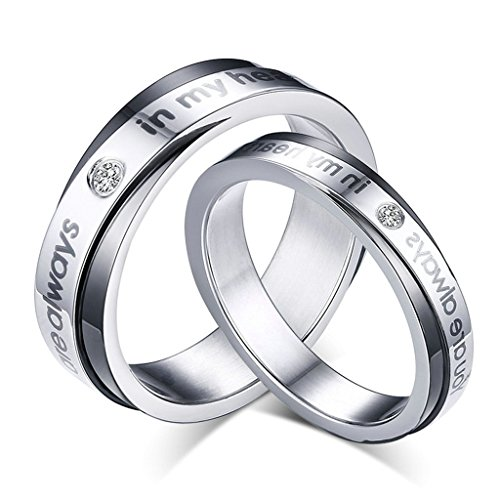 Verona Collection Pendant (KnBoB Women Men Rings Stainlss Steel with Crystall Round Wedding Bands Silver Women US5&Men US8)
