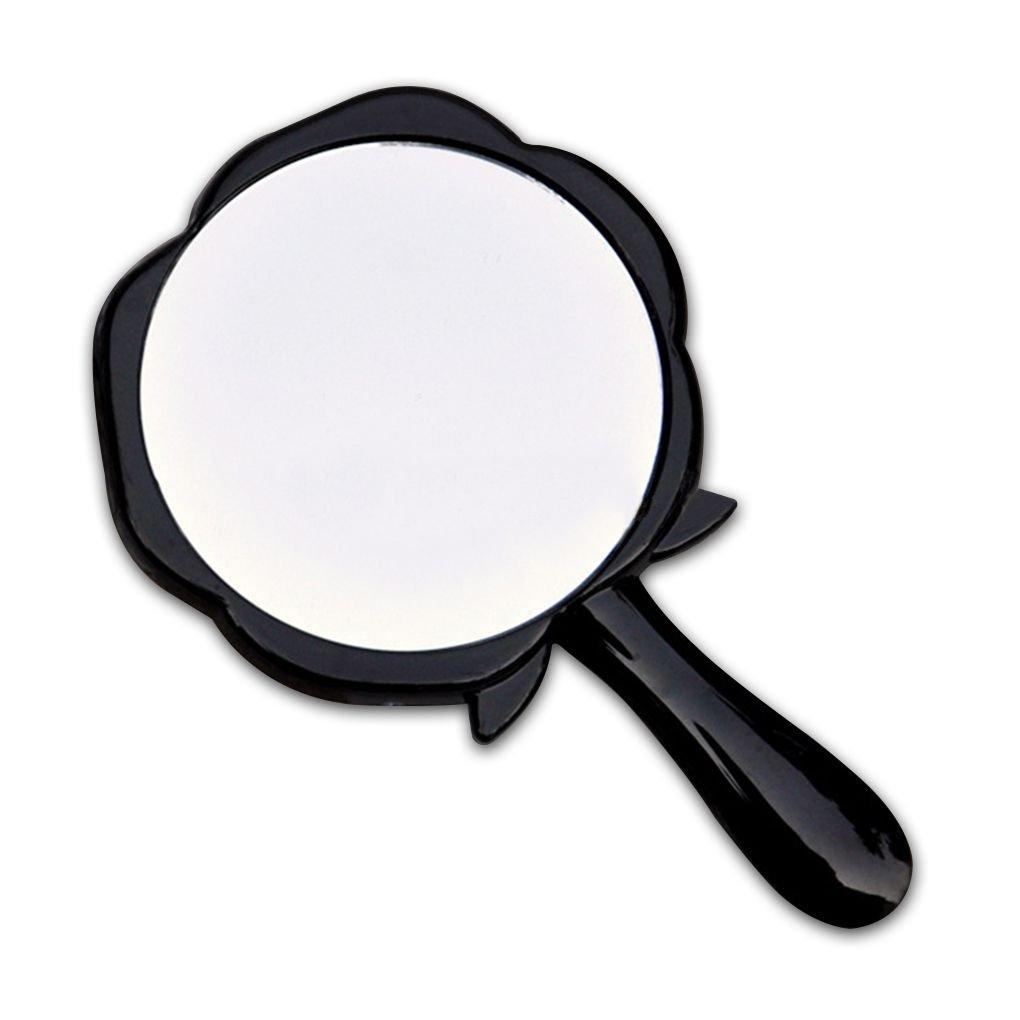 Meisijia Specchio cosmetico a forma di rotonda dello specchio cosmetico della maniglia portatile di rosa rosa