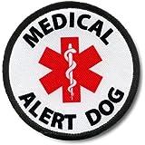 MEDICAL ALERT DOG Black Rim 2.5 inch Sew-on Patch