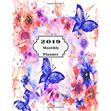 2019 Monthly Planner: Beautiful Organizer Schedule Background with watercolor floral pattern butterfly Monthly and Weekly Calendar To do List Top goal and Focus