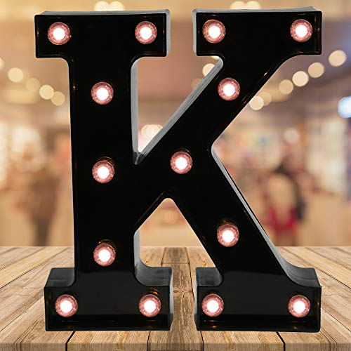 OYCBUZO Light up Black Alphabet Marquee Letters Sign LED Letter Lights for Home Bar Festival Birthday Party Wedding Decorative (Black Letter K)