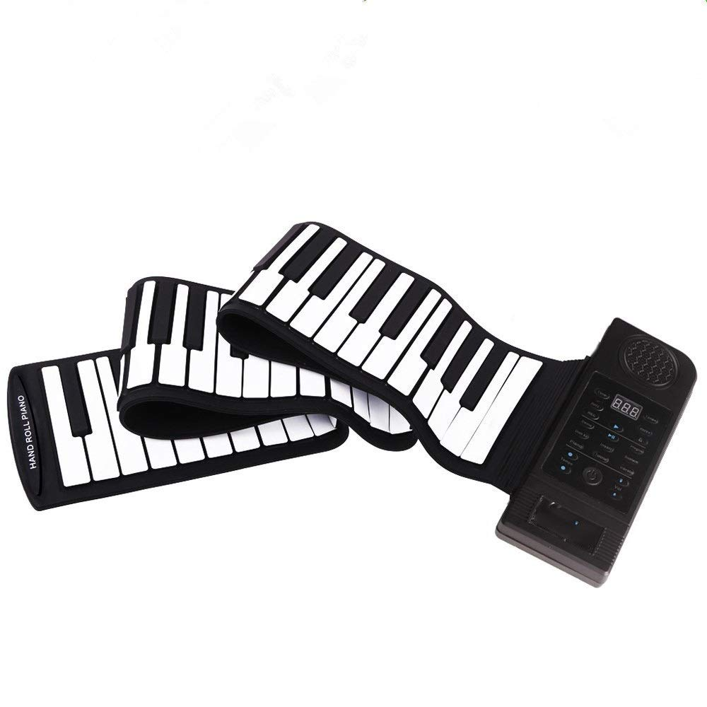 Portable Roll Up Piano Educational Thickened 88 Keys Flexible Roll-Up Electronic Digital Music Piano Keyboard MIDI Portable Design With Recording Replaying Functions 128 Tones 128 Rhythm 45 Demo Songs