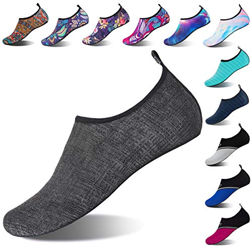 Water Shoes for Womens and Mens Summer Barefoot Shoes Quick Dry Aqua Socks for Beach Swim Yoga Exercise (Lattice-Gray, 48/49)