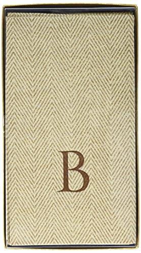 Entertaining with Caspari Jute Herringbone Paper Linen Guest Towels, Monogram Initial B, Pack of 24