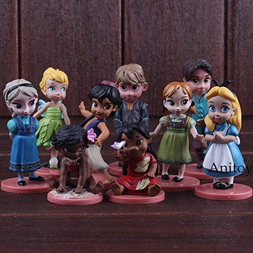 Collectible action figure model toy Prince & Princess Toys Elsa Tinker Bell Moana Anna Alice in Wonderland PVC Figures Dolls Gifts for Kids Girls 9pcs/Set