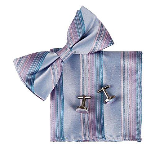 (Epoint BT2085 Blue Bowtie Striped Shandmade Silk Pre-tied Bowtie Cufflinks Hanky Gift Box Set)