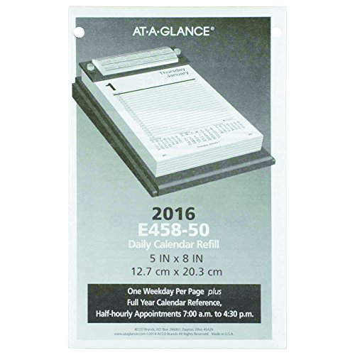 (AT-A-GLANCE E45850 Pad Style Desk Calendar Refill, 5 x 8, 2016)
