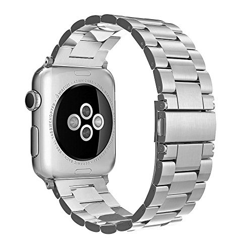 Simpeak Compatible for Apple Watch Band 42mm 44mm, Adjustment Stainless Steel Band for 42mm iWatch Series 4 3 2 1, with Tool, Silver for Men