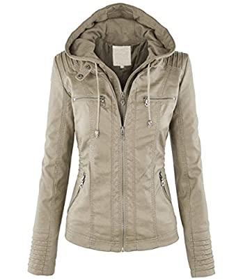 Tanming Women's Hooded Faux Leather Jackets