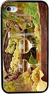 Rikki KnightTM White Wine glasses with grapes Design iPhone 4 & 4s Black Case Cover (Black Rubber with bumper protection) for Apple iPhone 4 & 4s