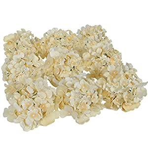 Luyue Silk Hydrangea Heads Artificial Decoration Flowers Garden Floral Decor,Pack of 10 (Champagne) 52