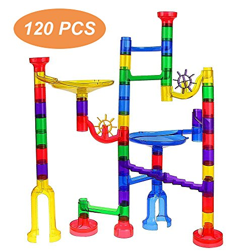 WenToyce 120 Pcs Marble Run Sets for Kids, Giant Marble Race Railway Track Game, STEM Building Puzzle Blocks, Educational Construction Toys Marble Maze for Toddler by WenToyce