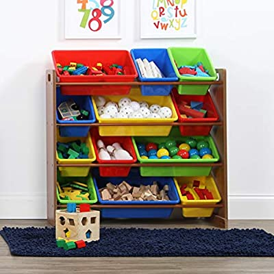 Tot Tutors Humble Crew Kids Toy Organizer with 12 Plastic Storage Bins, Dark Pine/Primary: Kitchen & Dining