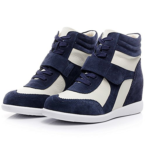 Fashion rismart Sneakers amp;Loop Fabric Hook Navy amp;beige Wedge Leather Casual amp;Suede Women's xq4RH8