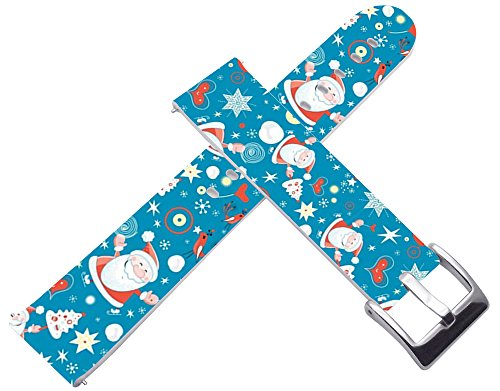 Bands for Gear S2 & Compatible Replacement Strap For Samsung For Galaxy Gear S2 Strap Silver Connectors + Christmas Printing Theme Design Father Blue