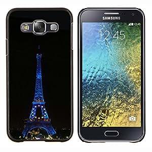 TECHCASE---Cubierta de la caja de protección para la piel dura ** Samsung Galaxy E5 E500 ** --Arquitectura Torre Eiffel en la noche
