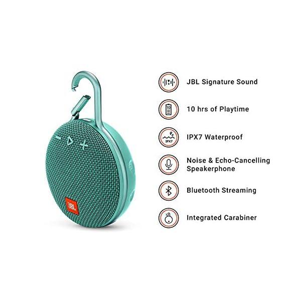 JBL Clip 3 - enceinte Bluetooth Portable avec Mousqueton - Étanchéité Ipx7 - Autonomie 10hrs - Qualité Audio JBL - Turquoise 2