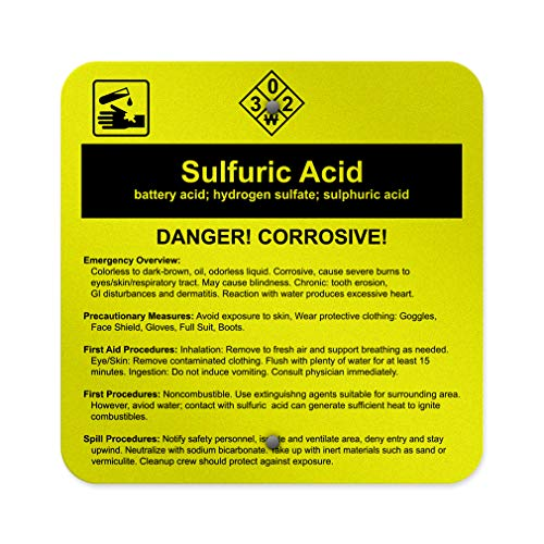 Sulfuric Acid Battery Acid; Hydrogen Sulfate; Sulphuric Acid Aluminum Weatherproof Metal Sign Square Street Signs 12INx12IN